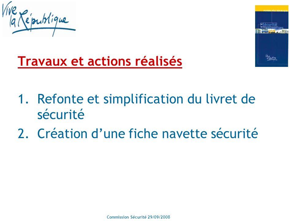 Commission Sécurité 29/09/2008 Travaux et actions réalisés 1.Refonte et simplification du livret de sécurité 2.Création dune fiche navette sécurité