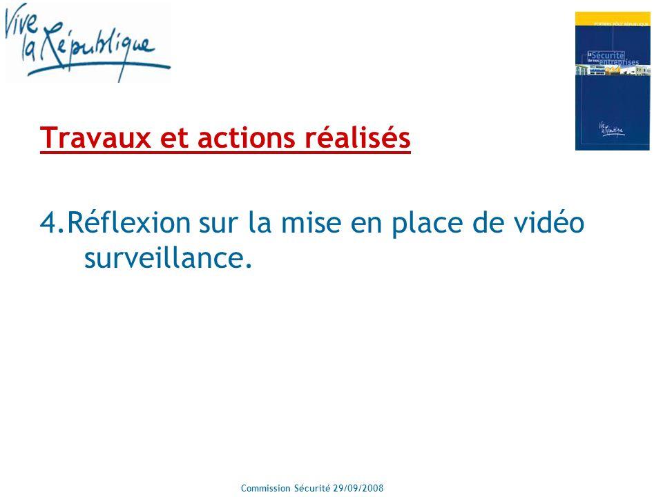 Commission Sécurité 29/09/2008 Travaux et actions réalisés 4.Réflexion sur la mise en place de vidéo surveillance.