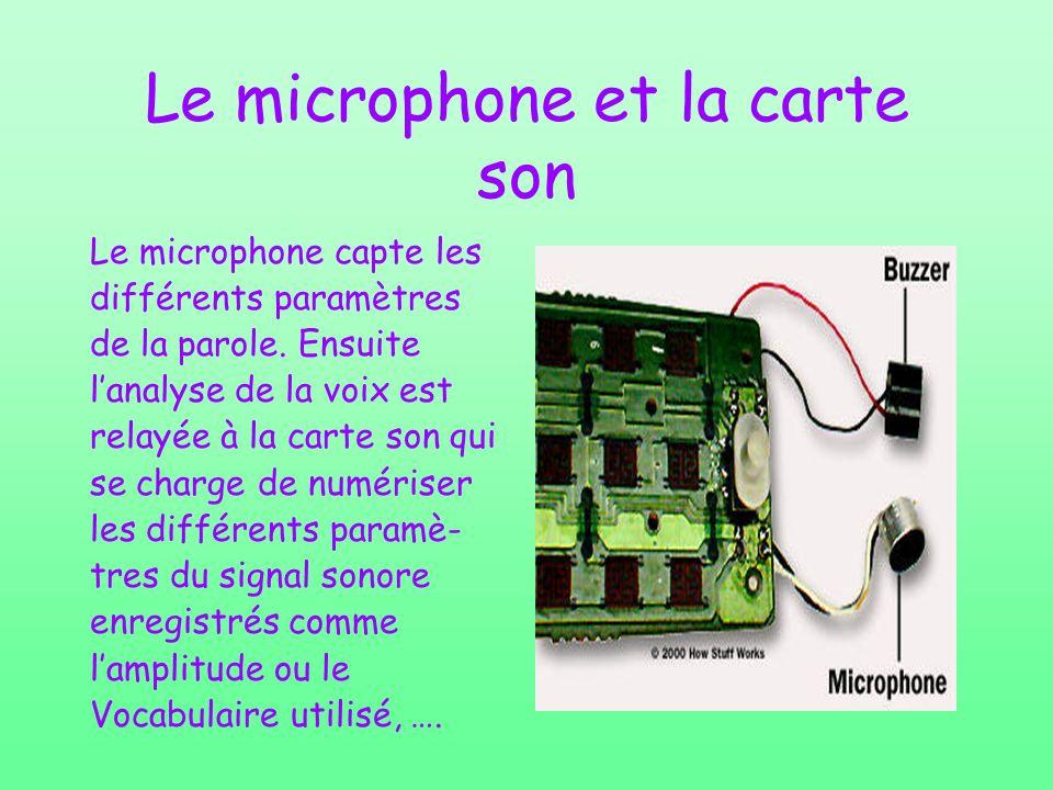Le microphone et la carte son Le microphone capte les différents paramètres de la parole. Ensuite lanalyse de la voix est relayée à la carte son qui s