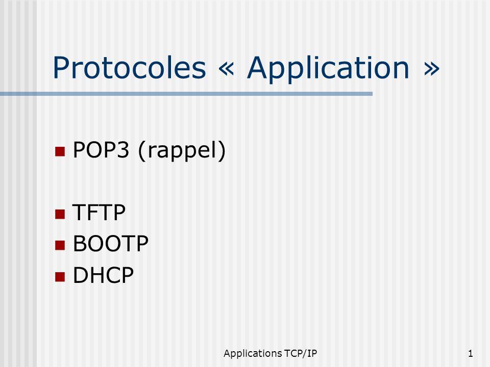 Applications TCP/IP12 Principes « Connexion » demande de lecture ou d écriture 5 types de paquet: RRQ, WRQ, DATA, ERR, ACK transfert par bloc de 512 octets acquittement retransmission si perte
