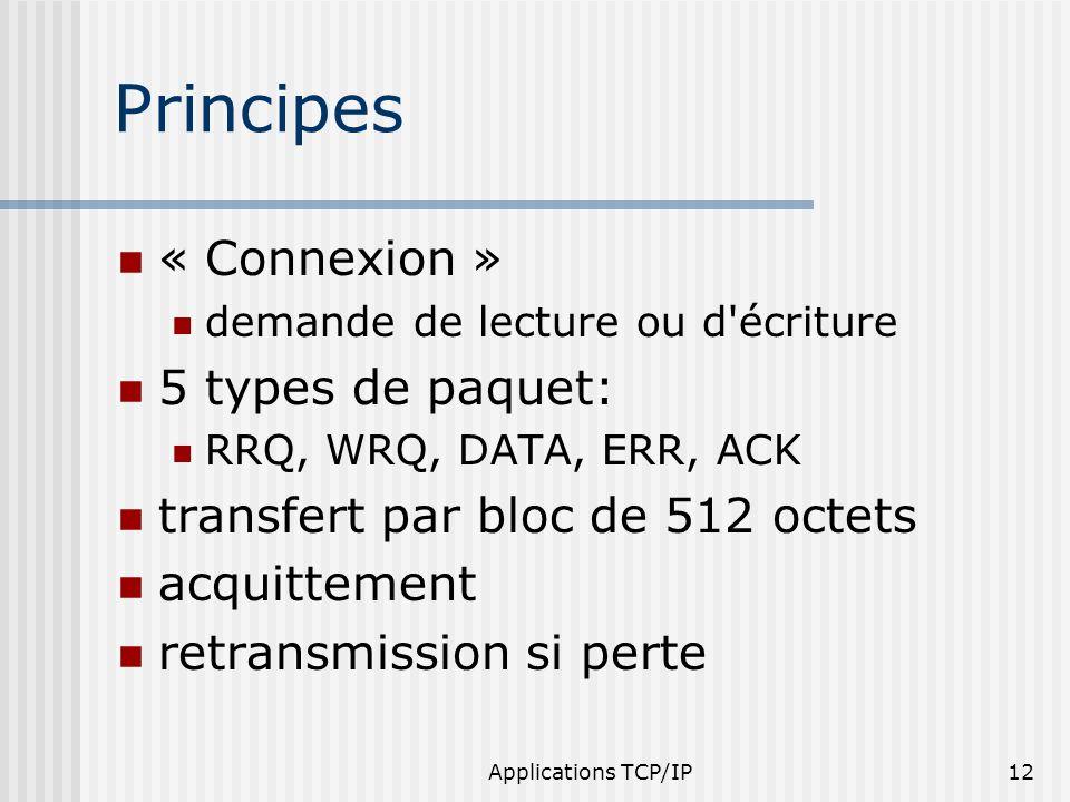 Applications TCP/IP12 Principes « Connexion » demande de lecture ou d'écriture 5 types de paquet: RRQ, WRQ, DATA, ERR, ACK transfert par bloc de 512 o