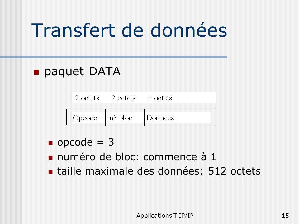 Applications TCP/IP15 Transfert de données paquet DATA opcode = 3 numéro de bloc: commence à 1 taille maximale des données: 512 octets