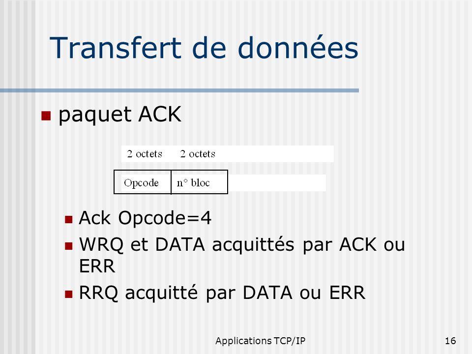 Applications TCP/IP16 paquet ACK Ack Opcode=4 WRQ et DATA acquittés par ACK ou ERR RRQ acquitté par DATA ou ERR Transfert de données