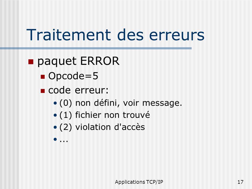 Applications TCP/IP17 Traitement des erreurs paquet ERROR Opcode=5 code erreur: (0) non défini, voir message. (1) fichier non trouvé (2) violation d'a