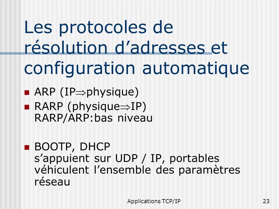 Applications TCP/IP23 Les protocoles de résolution dadresses et configuration automatique ARP (IPphysique) RARP (physiqueIP) RARP/ARP:bas niveau BOOTP