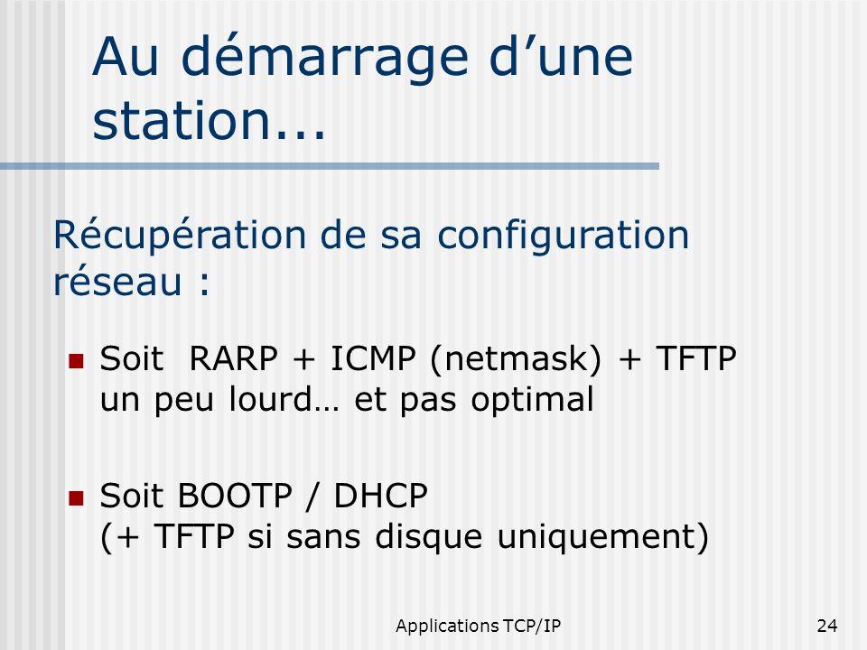 Applications TCP/IP24 Au démarrage dune station... Soit RARP + ICMP (netmask) + TFTP un peu lourd… et pas optimal Soit BOOTP / DHCP (+ TFTP si sans di