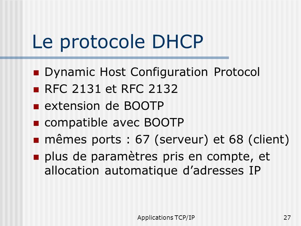 Applications TCP/IP27 Le protocole DHCP Dynamic Host Configuration Protocol RFC 2131 et RFC 2132 extension de BOOTP compatible avec BOOTP mêmes ports