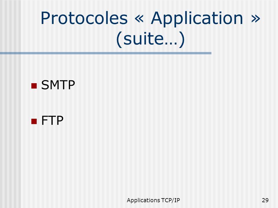 Applications TCP/IP29 Protocoles « Application » (suite…) SMTP FTP