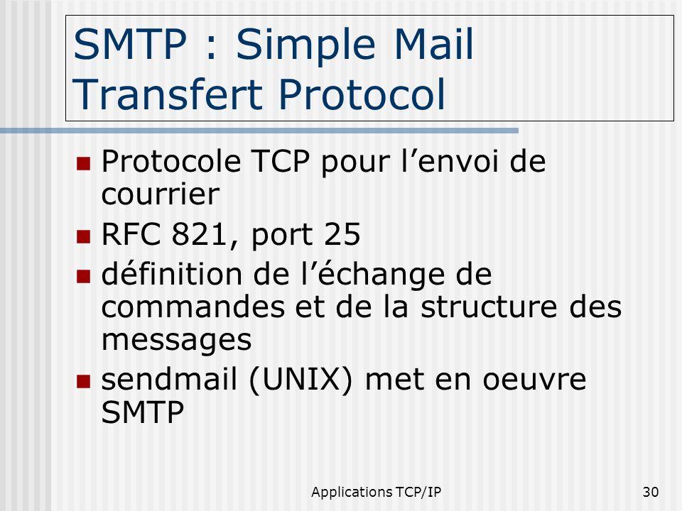 Applications TCP/IP30 SMTP : Simple Mail Transfert Protocol Protocole TCP pour lenvoi de courrier RFC 821, port 25 définition de léchange de commandes