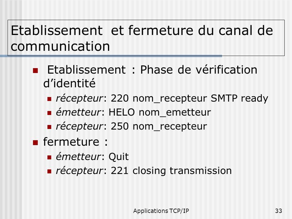 Applications TCP/IP33 Etablissement et fermeture du canal de communication Etablissement : Phase de vérification didentité récepteur: 220 nom_recepteu