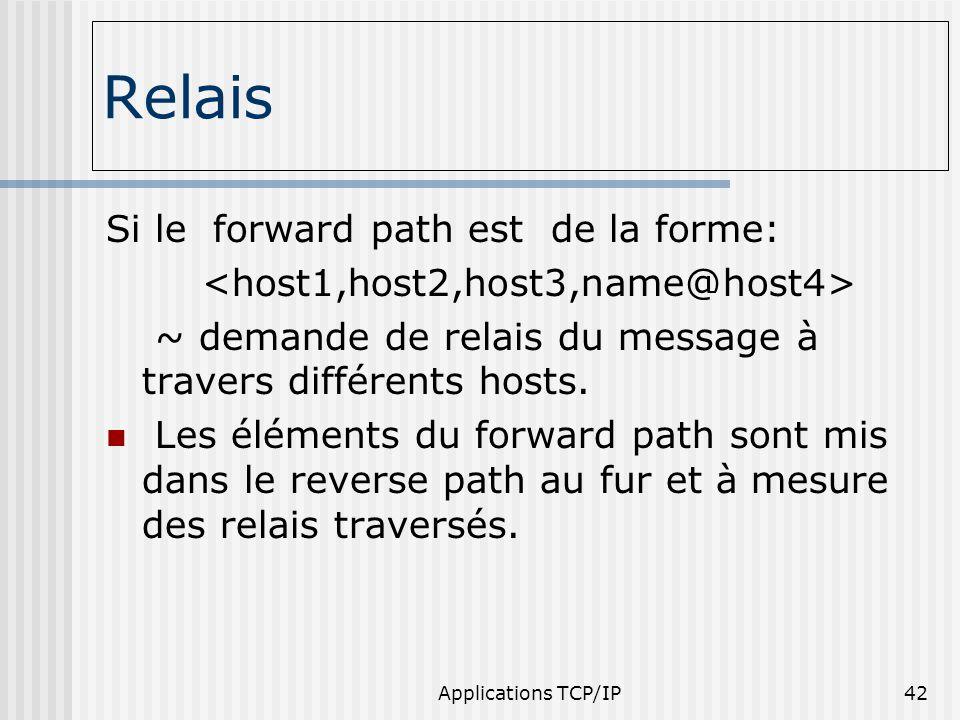 Applications TCP/IP42 Relais Si le forward path est de la forme: ~ demande de relais du message à travers différents hosts. Les éléments du forward pa