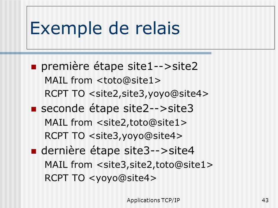 Applications TCP/IP43 Exemple de relais première étape site1-->site2 MAIL from RCPT TO seconde étape site2-->site3 MAIL from RCPT TO dernière étape si