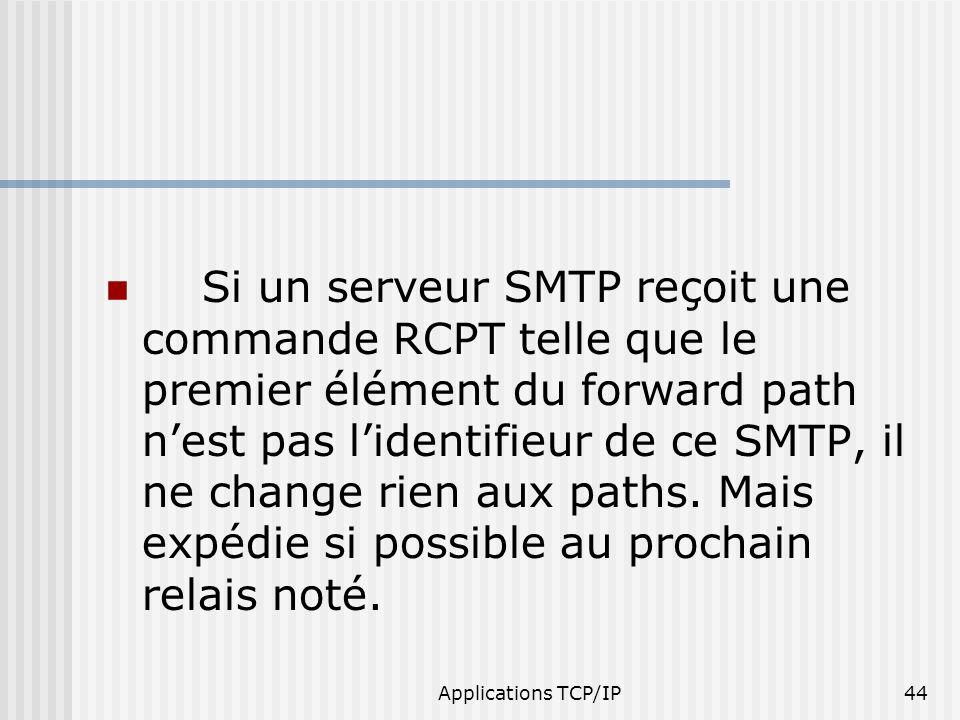 Applications TCP/IP44 Si un serveur SMTP reçoit une commande RCPT telle que le premier élément du forward path nest pas lidentifieur de ce SMTP, il ne