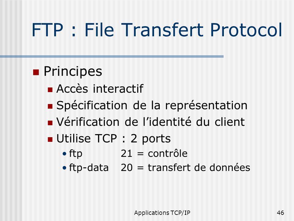Applications TCP/IP46 FTP : File Transfert Protocol Principes Accès interactif Spécification de la représentation Vérification de lidentité du client