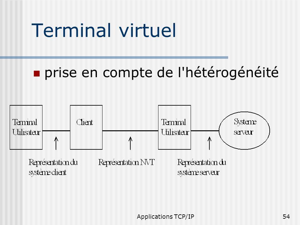 Applications TCP/IP54 Terminal virtuel prise en compte de l'hétérogénéité