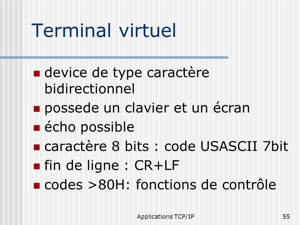 Applications TCP/IP55 Terminal virtuel device de type caractère bidirectionnel possede un clavier et un écran écho possible caractère 8 bits : code US