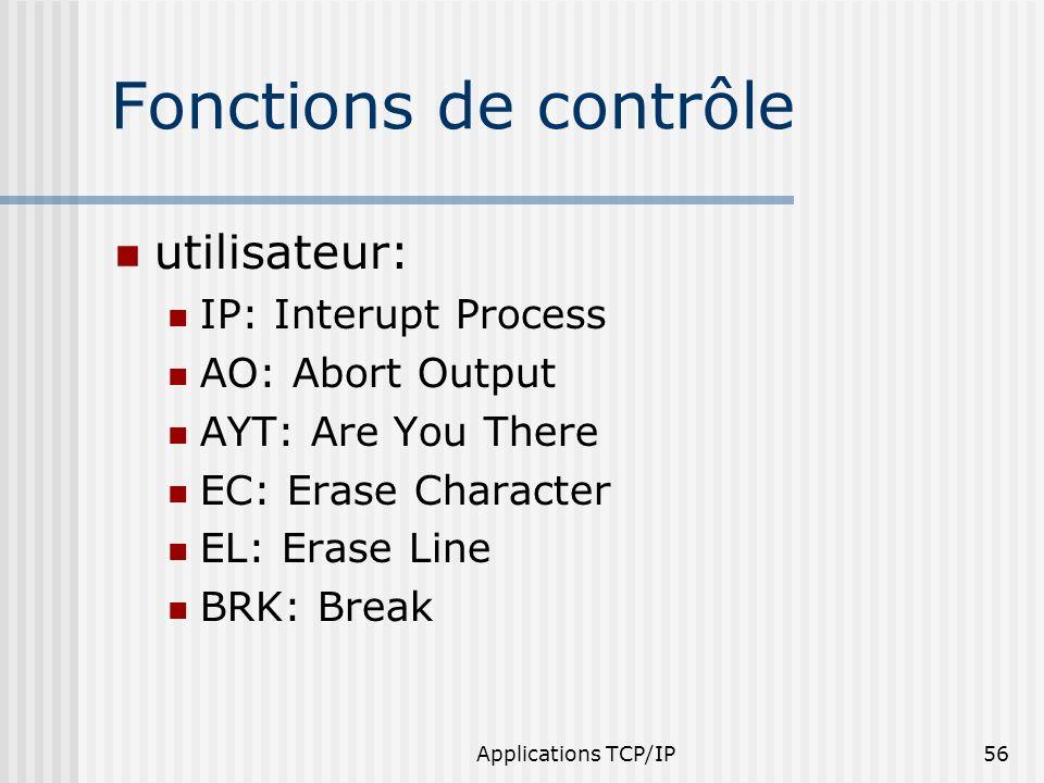 Applications TCP/IP56 Fonctions de contrôle utilisateur: IP: Interupt Process AO: Abort Output AYT: Are You There EC: Erase Character EL: Erase Line B