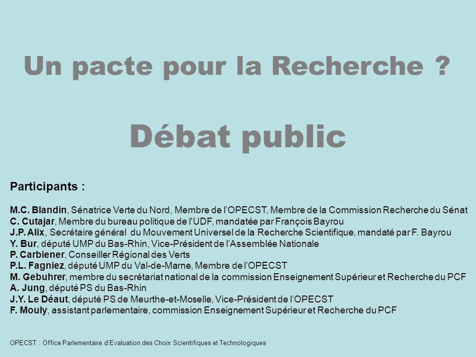 Un pacte pour la Recherche . Débat public Participants : M.C.