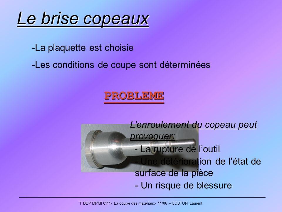 T BEP MPMI CI11- La coupe des matériaux- 11/06 – COUTON Laurent Le brise copeaux -La plaquette est choisie -Les conditions de coupe sont déterminées P