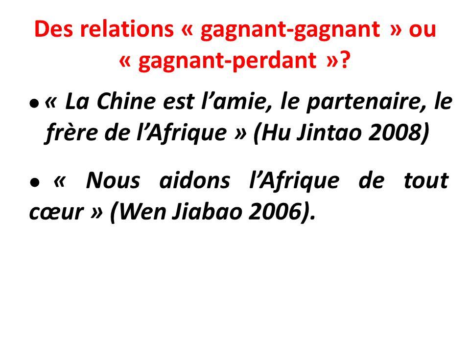 Des relations « gagnant-gagnant » ou « gagnant-perdant »? « La Chine est lamie, le partenaire, le frère de lAfrique » (Hu Jintao 2008) « Nous aidons l