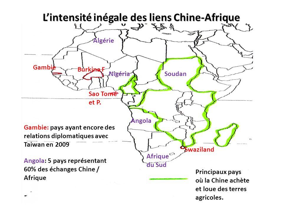 Lintensité inégale des liens Chine-Afrique Principaux pays où la Chine achète et loue des terres agricoles. Gambie Burkina F Sao Tomé et P. Swaziland