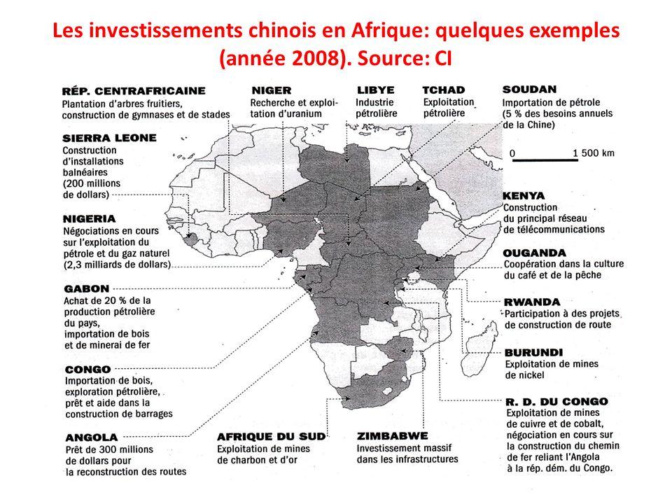 Les investissements chinois en Afrique: quelques exemples (année 2008). Source: CI