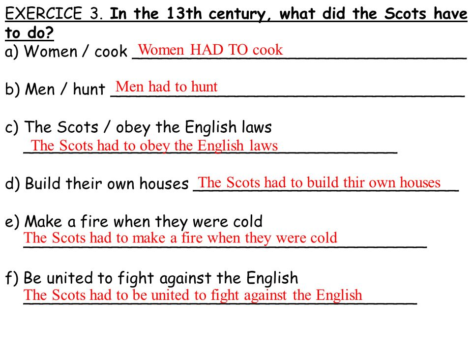 EXERCICE 3. In the 13th century, what did the Scots have to do? a) Women / cook __________________________________ b) Men / hunt _____________________