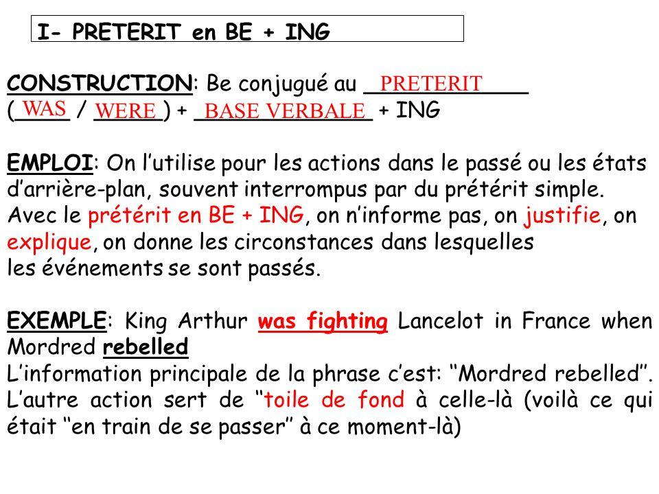 CONSTRUCTION: Be conjugué au ____________ (____ / _____) + _____________ + ING EMPLOI: On lutilise pour les actions dans le passé ou les états darrièr