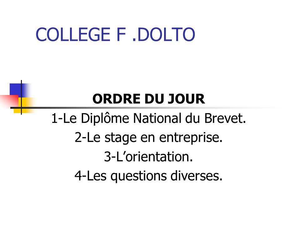 COLLEGE F.DOLTO ORDRE DU JOUR 1-Le Diplôme National du Brevet. 2-Le stage en entreprise. 3-Lorientation. 4-Les questions diverses.