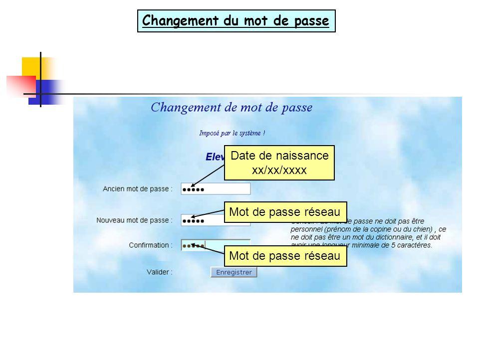 Date de naissance xx/xx/xxxx Mot de passe réseau Changement du mot de passe