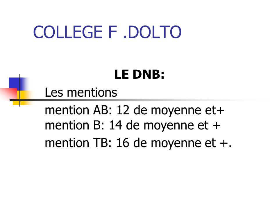 COLLEGE F.DOLTO LE DNB: Les mentions mention AB: 12 de moyenne et+ mention B: 14 de moyenne et + mention TB: 16 de moyenne et +.