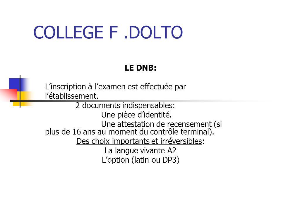 COLLEGE F.DOLTO LE DNB: Linscription à lexamen est effectuée par létablissement. 2 documents indispensables: Une pièce didentité. Une attestation de r