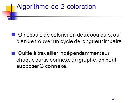 25 Algorithme de 2-coloration On essaie de colorier en deux couleurs, ou bien de trouver un cycle de longueur impaire. Quitte à travailler indépendamm