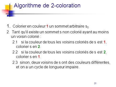 26 1. Colorier en couleur 1 un sommet arbitraire s 0 2. Tant qu'il existe un sommet s non colorié ayant au moins un voisin colorié : 2.1 si la couleur