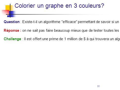 30 Colorier un graphe en 3 couleurs? Question : Existe-t-il un algorithme