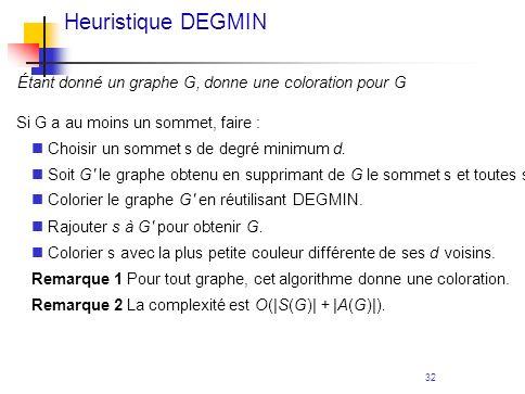 32 Heuristique DEGMIN Étant donné un graphe G, donne une coloration pour G Si G a au moins un sommet, faire : Choisir un sommet s de degré minimum d.