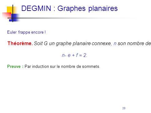 39 Euler frappe encore ! Théorème. Soit G un graphe planaire connexe, n son nombre de sommets, e son nombre d'arêtes et f son nombre de faces. Alors n