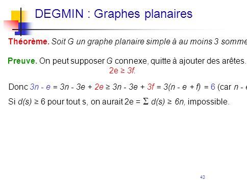 43 Théorème. Soit G un graphe planaire simple à au moins 3 sommets. Alors e < 3n - 6, et il existe un sommet de degré 5. Preuve. On peut supposer G co