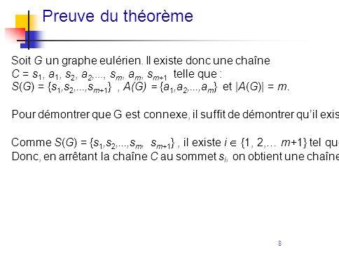 8 Preuve du théorème Soit G un graphe eulérien. Il existe donc une chaîne C = s 1, a 1, s 2, a 2,..., s m, a m, s m+1 telle que : S(G) = {s 1,s 2,...,
