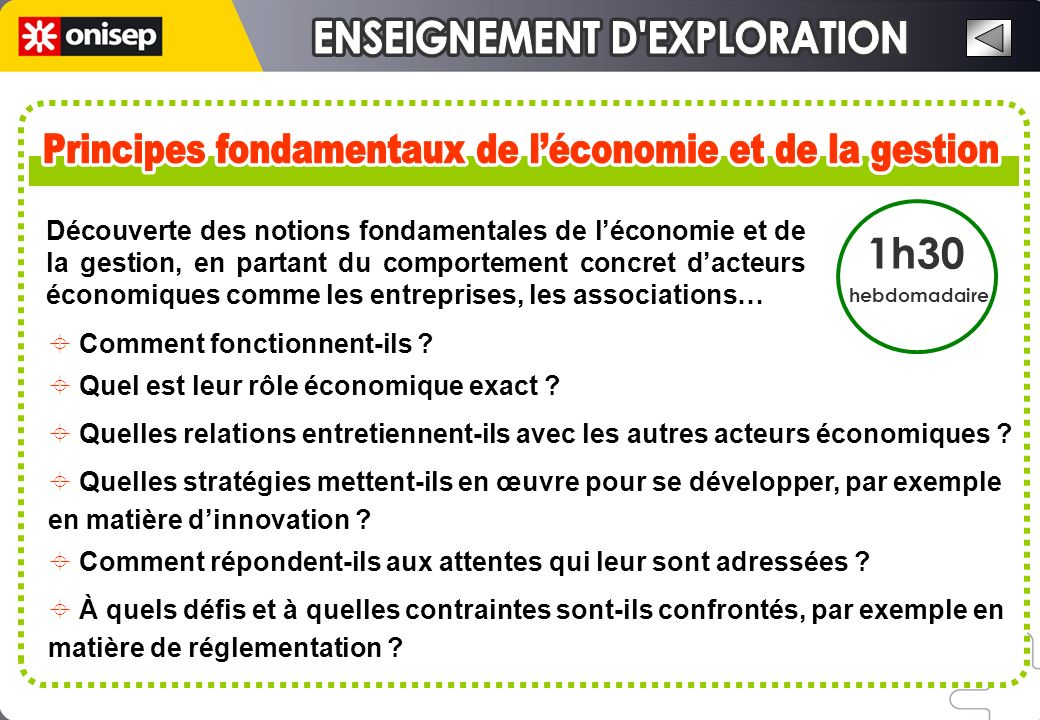 Découverte des notions fondamentales de léconomie et de la gestion, en partant du comportement concret dacteurs économiques comme les entreprises, les associations… Comment fonctionnent-ils .