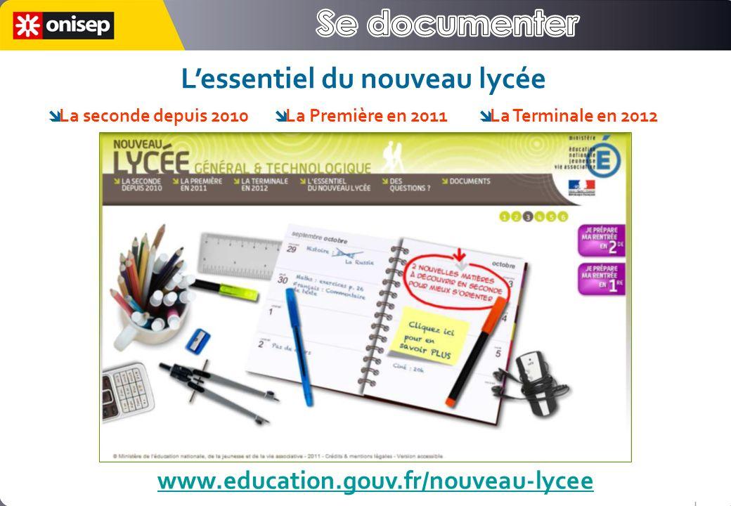 www.education.gouv.fr/nouveau-lycee Lessentiel du nouveau lycée La seconde depuis 2010 La Première en 2011 La Terminale en 2012