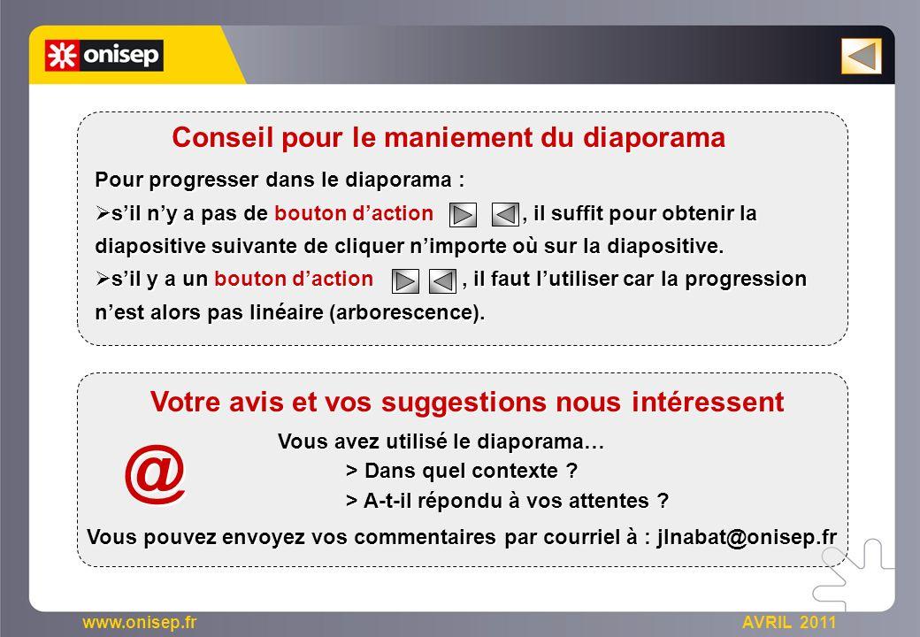 www.onisep.fr AVRIL 2011 Pour progresser dans le diaporama : sil ny a pas de bouton daction, il suffit pour obtenir la diapositive suivante de cliquer nimporte où sur la diapositive.