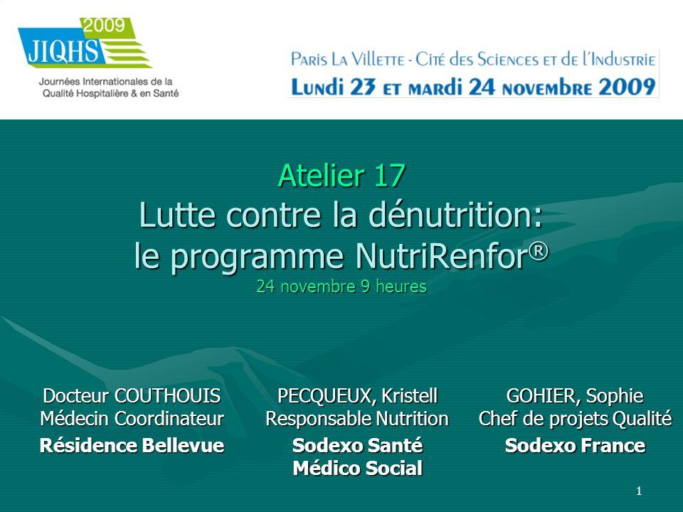 1 Atelier 17 Lutte contre la dénutrition: le programme NutriRenfor ® 24 novembre 9 heures Docteur COUTHOUIS Médecin Coordinateur Résidence Bellevue GO