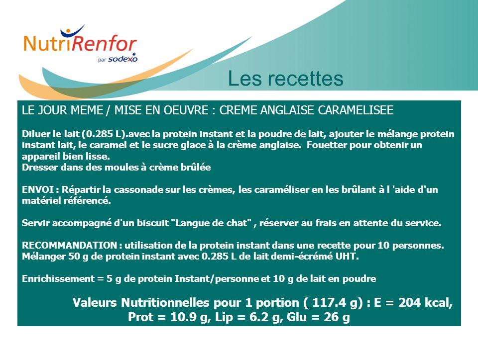11e JIQHS20 Les recettes LE JOUR MEME / MISE EN OEUVRE : CREME ANGLAISE CARAMELISEE Diluer le lait (0.285 L).avec la protein instant et la poudre de l