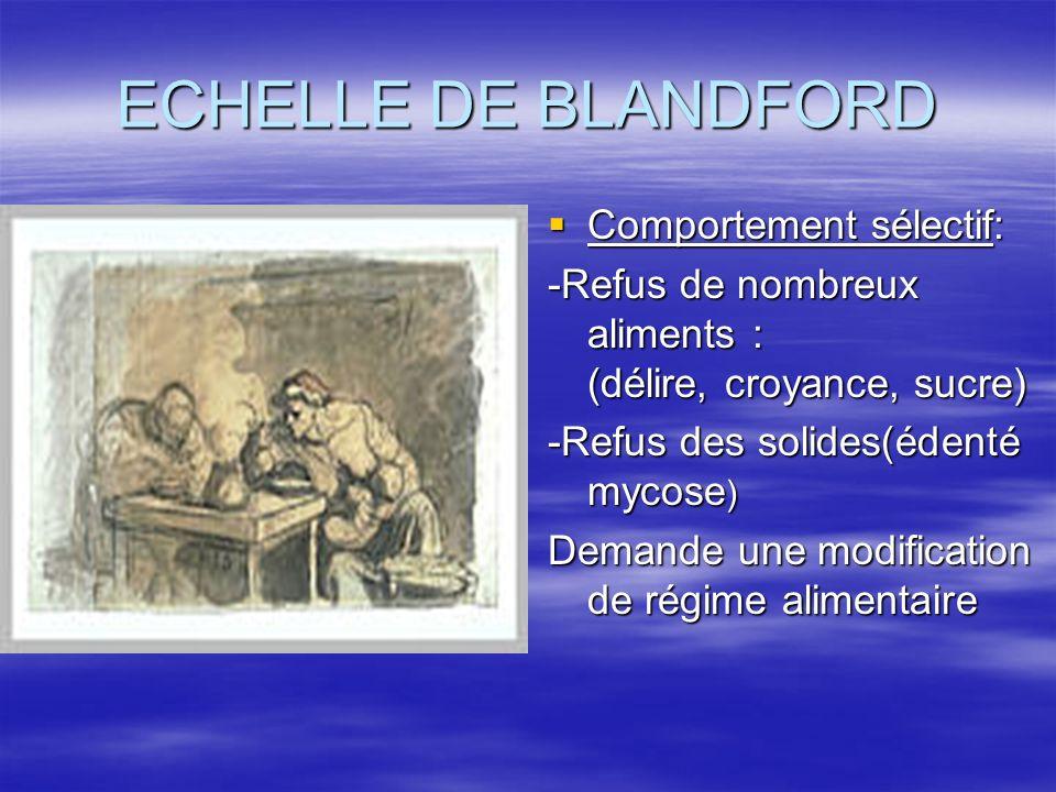 ECHELLE DE BLANDFORD Comportement sélectif: Comportement sélectif: -Refus de nombreux aliments : (délire, croyance, sucre) -Refus des solides(édenté m
