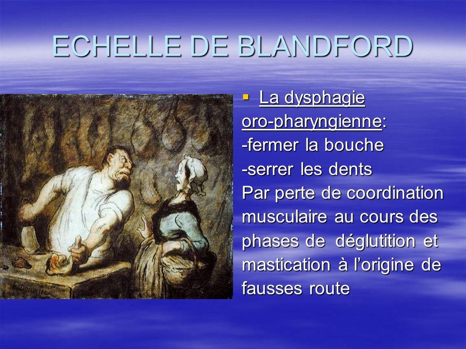 ECHELLE DE BLANDFORD La dysphagie La dysphagie oro-pharyngienne: -fermer la bouche -serrer les dents Par perte de coordination musculaire au cours des