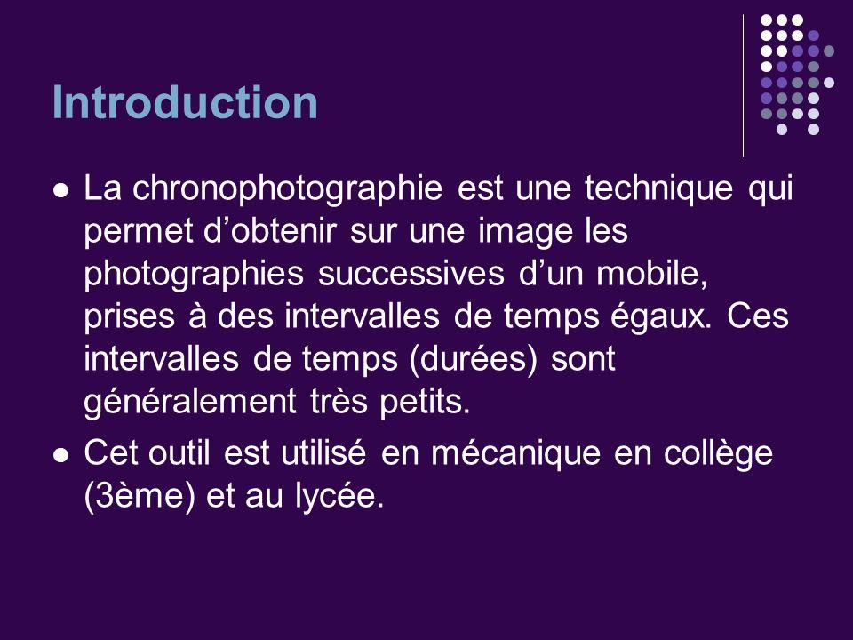 Introduction La chronophotographie est une technique qui permet dobtenir sur une image les photographies successives dun mobile, prises à des interval