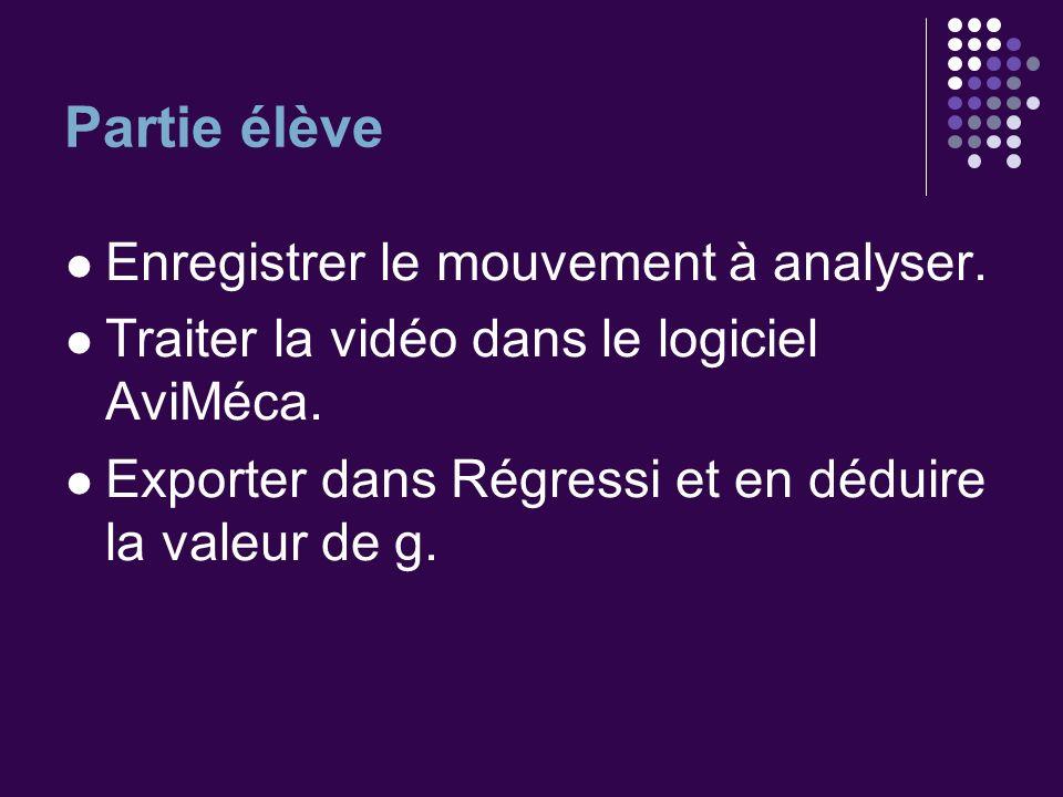 Partie élève Enregistrer le mouvement à analyser. Traiter la vidéo dans le logiciel AviMéca. Exporter dans Régressi et en déduire la valeur de g.