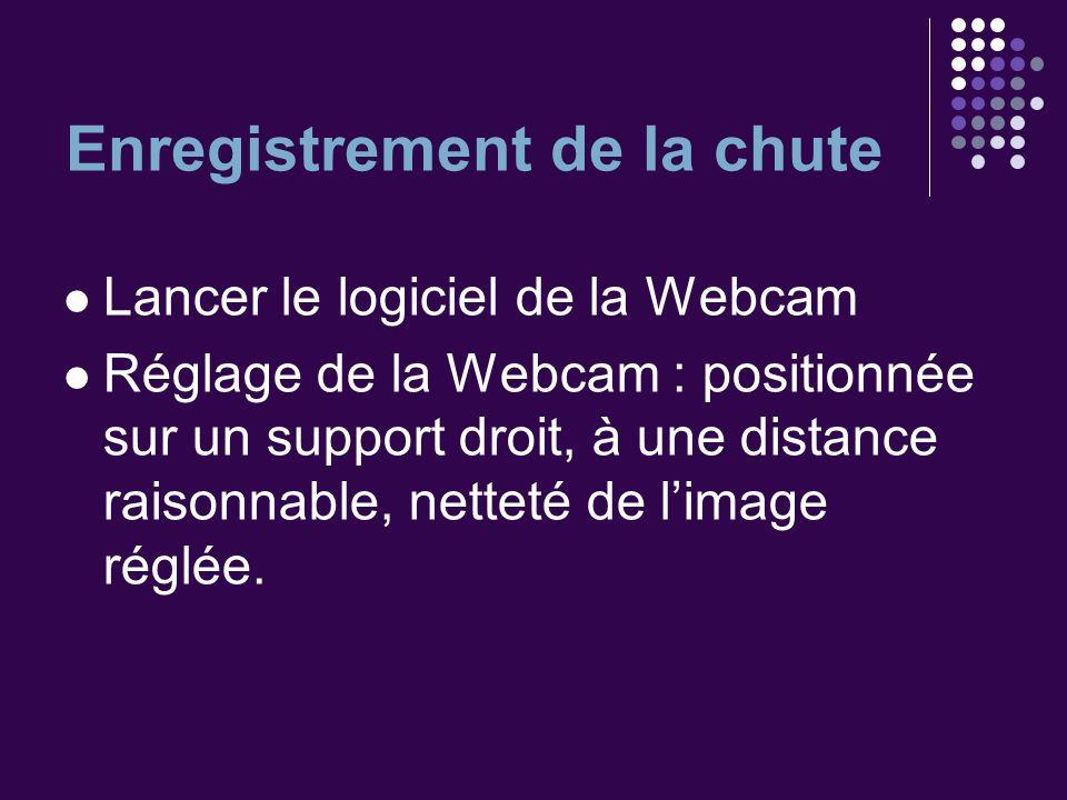 Enregistrement de la chute Lancer le logiciel de la Webcam Réglage de la Webcam : positionnée sur un support droit, à une distance raisonnable, nettet