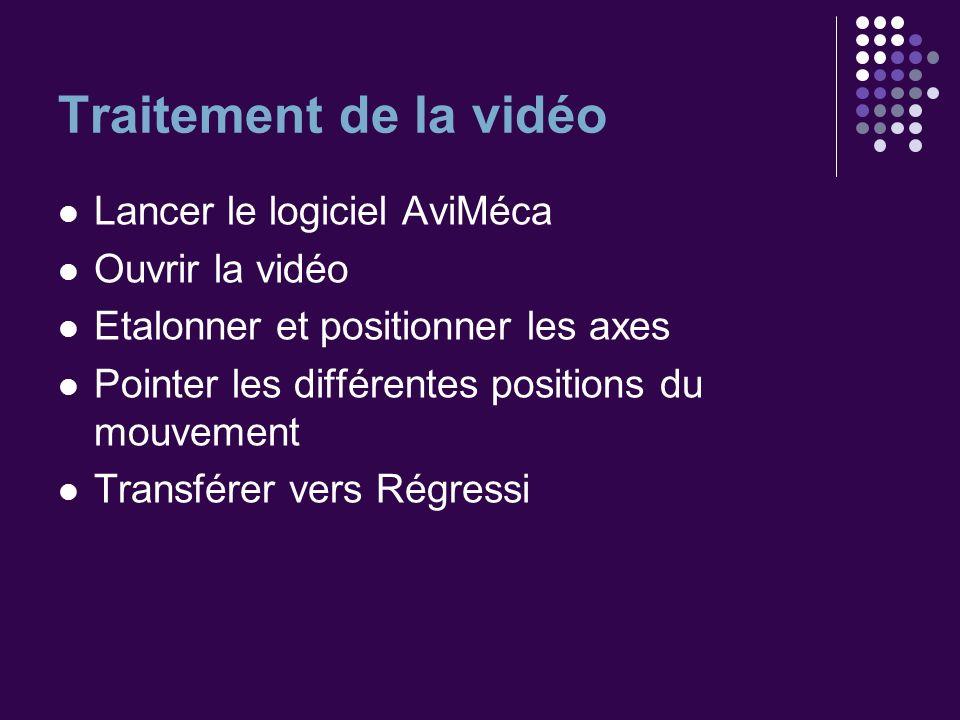 Traitement de la vidéo Lancer le logiciel AviMéca Ouvrir la vidéo Etalonner et positionner les axes Pointer les différentes positions du mouvement Tra
